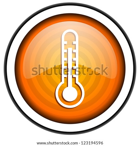 thermometer orange glossy icon isolated on white background