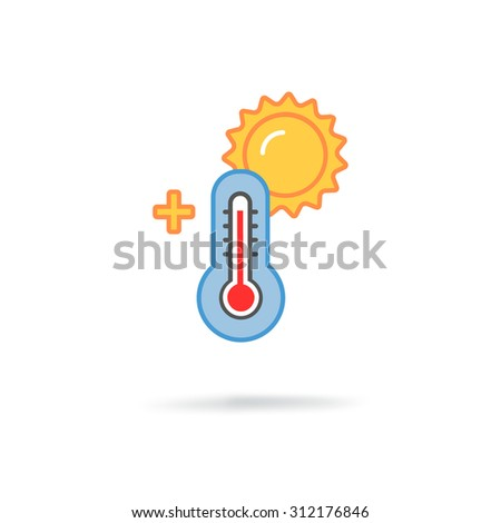 thermometer with sun - stock photo
