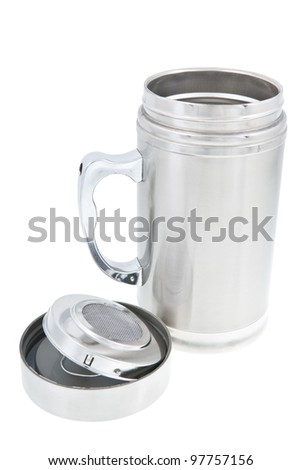 Thermos cup with opened cap. Isolated on white background.