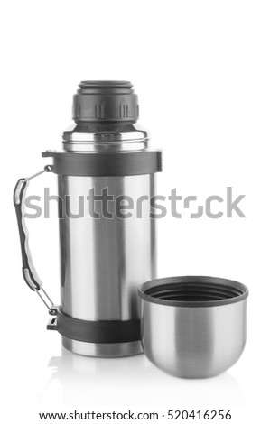 Thermos flask closeup on white background