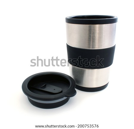 Thermos mug and remove the lid from it on a white background - stock photo