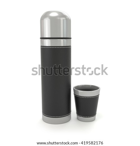 Thermos with a mug on a white background. 3d render - stock photo
