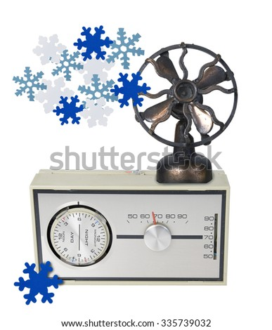 Thermostat Furnace dial with Fan and Snowflakes - path included - stock photo