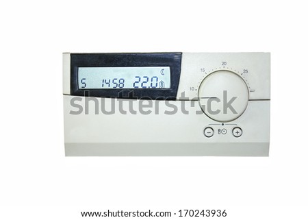 thermostat indicating 22 degrees celsius - stock photo