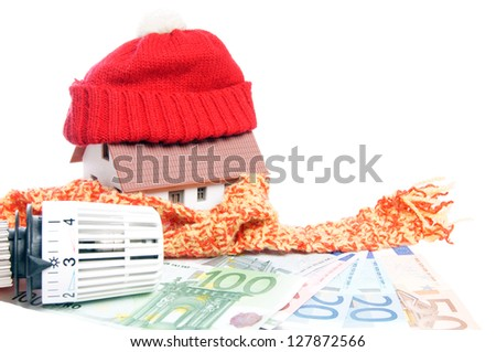 Thermostat with euro banknotes and small house / heating costs - stock photo