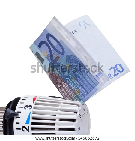 Thermostat with 20 euro. Heating costs  - stock photo