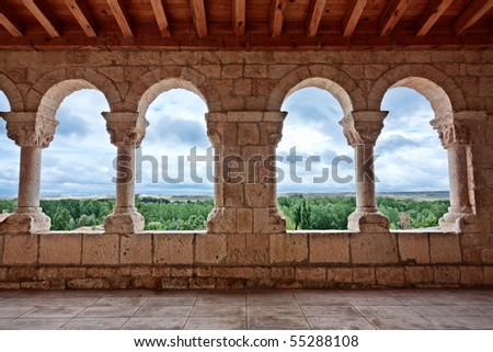 These archs are located at the entrances of the church of Nuestra Senora del Rivero (San Esteban de Gormaz, Soria, Spain). It was built circa 12th century. - stock photo