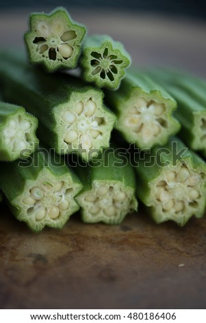 These are sliced home grown Okra or Okro and they are a flowering plant in the mallow family. It is a Southern dish that is a favorite as fried or used in gumbo. Also known as ladies fingers.