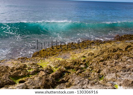 These perfectly clear waves form and break on some rocks in a dangerous spot on the west shore of Oahu in Hawaii. You can see right through the waves and the vibrant color of the ocean really shows.