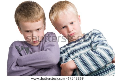 These two brothers do not agree! - stock photo