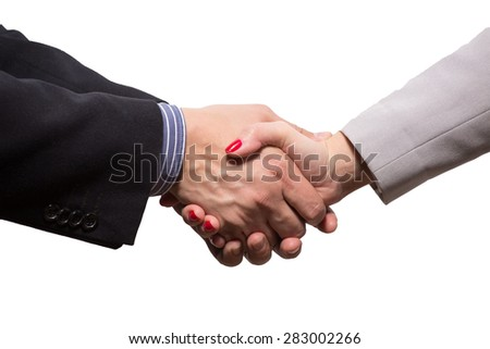 These two businesspersons are shaking hands. They had the bilateral negotiations between two companies, that is why they concluded a profitable agreement.  - stock photo