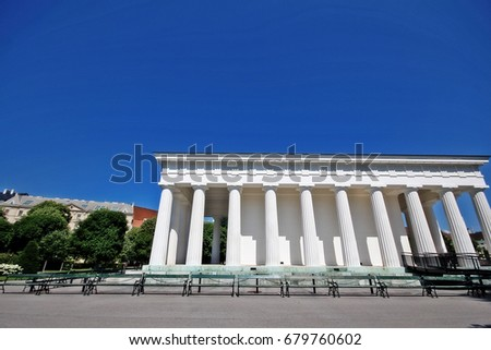 Theseus Temple (Theseustempel), the replica of 2500 years old  Athenian temple of Hephaestus in Athens, in Neo-classical style surrounded by Doric columns, Volksgarten (People's Garden), Vienna