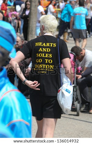 THESSALONIKI, GREECE - APRIL 21: 8th Marathon Alexander the great runner wearing T-Shirts with Message for the Victims of Boston Marathon  on April 21,2013 in Thessaloniki, Greece - stock photo