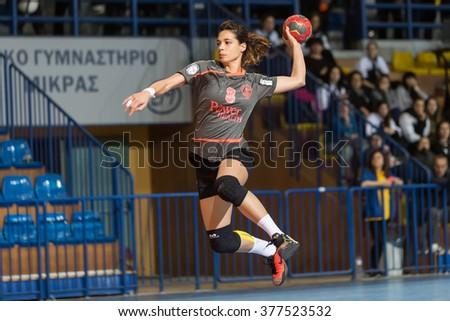 Thessaloniki, Greece - February 13, 2016: Handball player in action during the Greek Women Cup Final handball game Arta vs Nea Ionia - stock photo