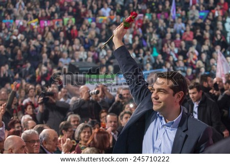 Thessaloniki, Greece January 21, 2015 - Alexis Tsipras leader of the Coalition of the Radical Left (SYRIZA) speaks in Palai de sport, Thessaloniki, Greece few days before the National  elections 2015 - stock photo
