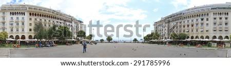 THESSALONIKI, GREECE - JULY 01: Aristotle square in Thessaloniki on JULY 01, 2011. Cityscape of Aristotle square in Thessaloniki, Greece. - stock photo