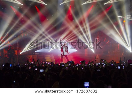 THESSALONIKI, GREECE, MAY 8 2014: Singer Sakis Rouvas performing live on stage for the Ace of Heart tour at Sports arena in Thessaloniki.