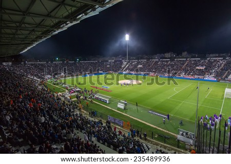 THESSALONIKI, GREECE - NOV 12, 2014 : General view of the full Toumba stadium prior to the UEFA Europa League match Paok vs Fiorentina.