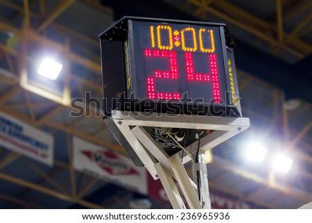 THESSALONIKI, GREECE - NOV 12, 2014: Shot clock as seen prior to the Eurocup game Paok vs Buducnost - stock photo
