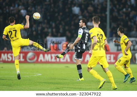 THESSALONIKI, GREECE - OCTOBER 01, 2015: Alexandros Tziolis and Gonzalo Castro during the UEFA Europa League match between PAOK and Borussia Dortmund played at Toumba Stadium.