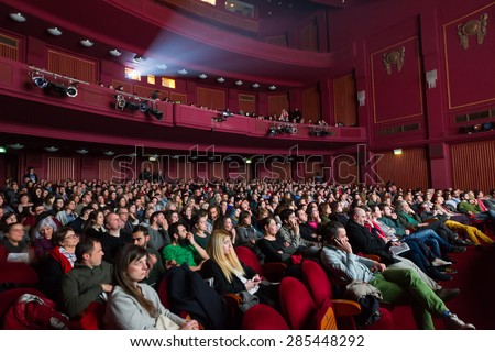 THESSALONIKI - GREECE, OCTOBER 31, 2014: People during opening ceremony of 55th Thessaloniki International Film Festival at Olympion Cinema - stock photo