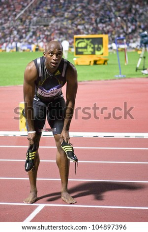 THESSALONIKI, GREECE - SEPTEMBER 12:IAAF / VTB Bank World Athletics Final 2009 English sprint athlete Marlon Devonish on September 12, 2009 in Kaftatzoglio stadium, Thessaloniki, Greece