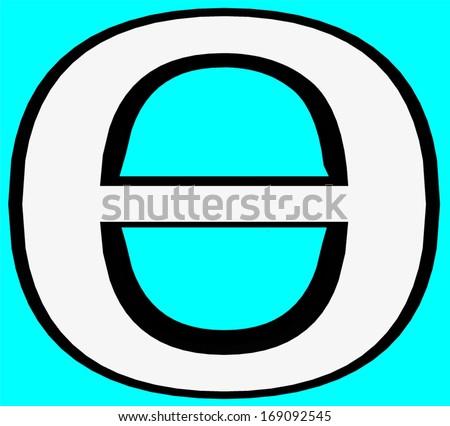 Theta Greek Letter Greek Alphabet Script Stock Illustration