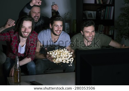 They're real fans of football  - stock photo