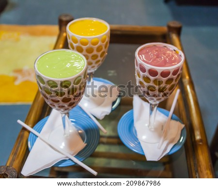 Thick and creamy puree like multilayered juice is an Ethiopian prime soft drink. - stock photo