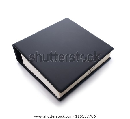 Thick blank black binder isolated on white - stock photo