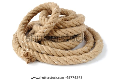 Thick coiled rope with end - stock photo