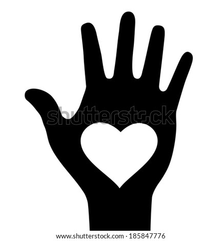 Thick hand with heart icon, raster illustration  - stock photo