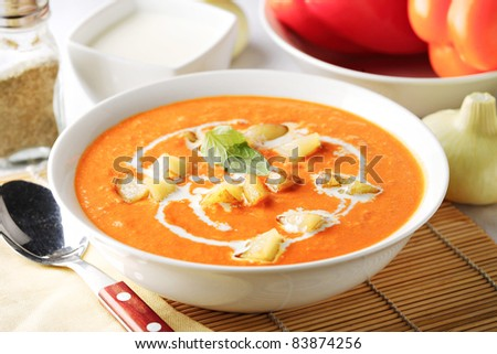 thick paprika soup - stock photo