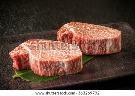 Thick slice Japanese beef marbled beef steak - stock photo