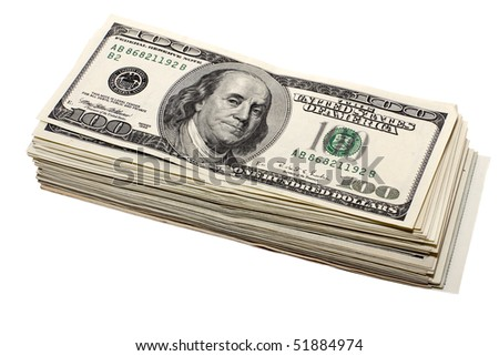 thick stack of hundred-dollar bills isolated on a white background - stock photo