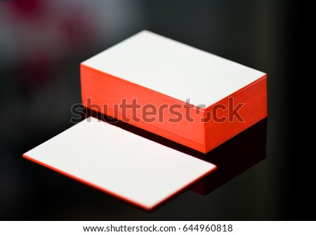 Thick white cotton paper business card stock photo royalty free thick white cotton paper business card mock up with red painted edges blank business cards reheart Gallery