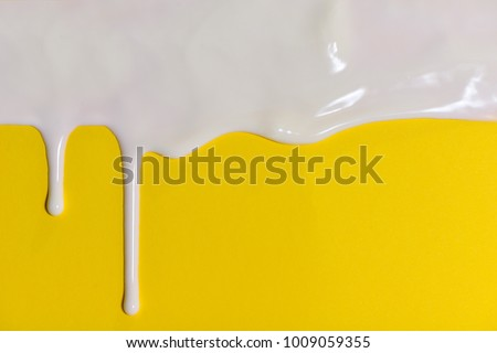 Thick White Paint Dripping Down Yellow Stock Photo (Royalty Free ...