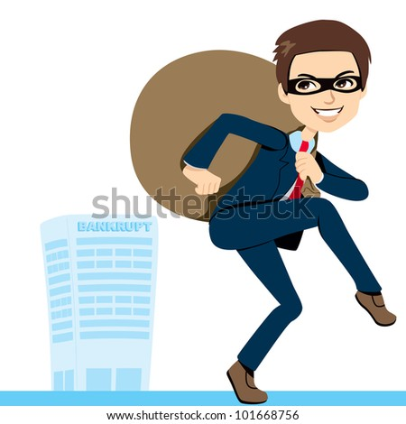 Thief Businessman in suit lifting heavy bag full of stolen profits leaving bankrupt company behind - stock photo