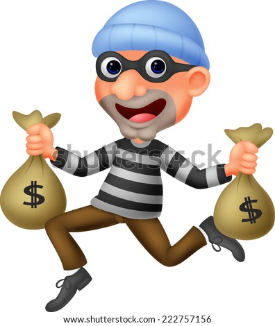Thief carrying bag of money with a dollar sign - stock photo