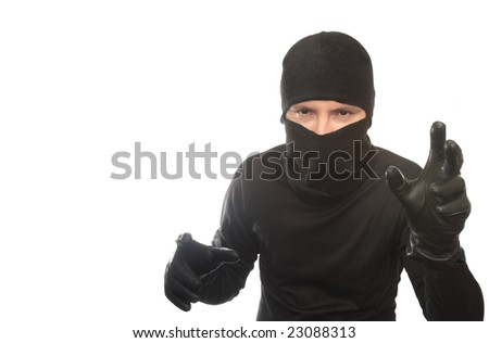 thief creeps on the isolated background - stock photo