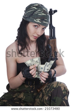 Thief girl in camouflage pants with a gun and big bag full of money.