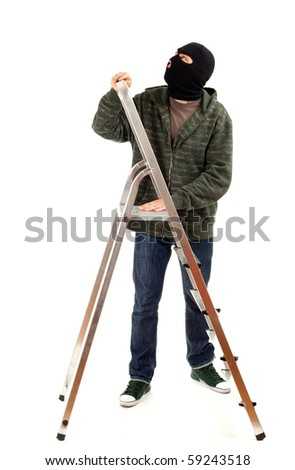 thief in black balaclava with ladder, isolated - stock photo