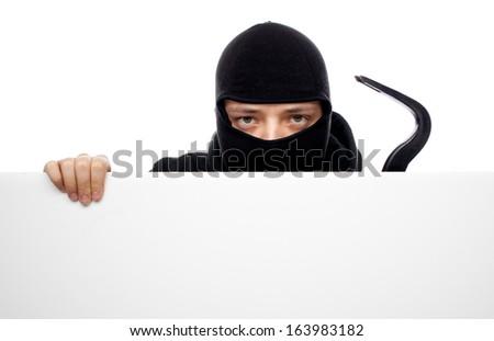 thief or burglar man isolated over white - stock photo