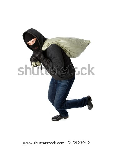 Thief running with heavy bag