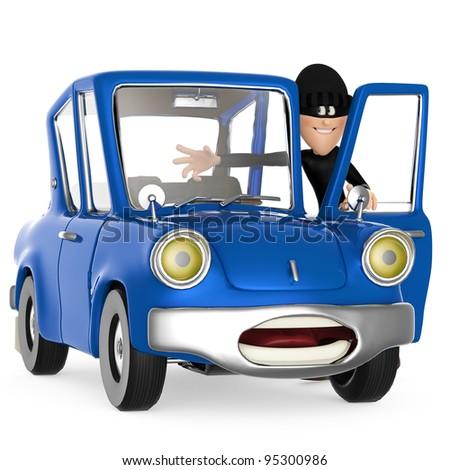 thief stealing a car - stock photo