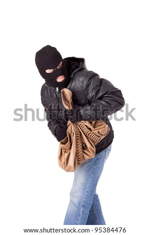 Thief, stealing a purse, isolated over white - stock photo