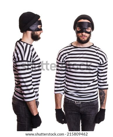 Thief stereotype. Portrait isolated on white background   - stock photo