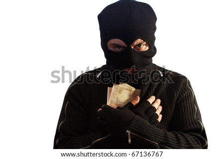 Thief wearing a ski mask isolated on white holding some euro banknotes - stock photo