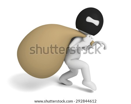 thief with a moneybag on his back. 3d image. Isolated white background - stock photo