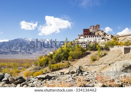 Thikse Monastery on the mountain and blue sky in Leh Ladakh - stock photo